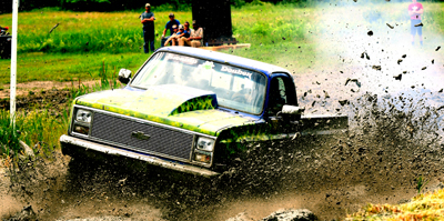 old chevy slinging mud